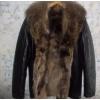 Куртка кожаная Италия мех волка